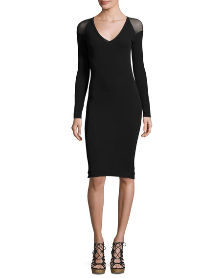 Fuzzi Illusion Long-Sleeve Tulle Sheath Dress, Black