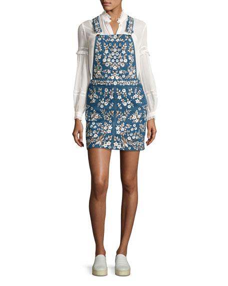 Needle & Thread Floral-Embroidered Denim Pinafore Dress, Washed