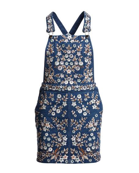 Floral-Embroidered Denim Pinafore Dress, Washed Indigo