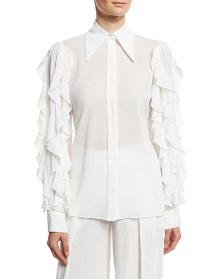 White Cotton Blouse   Neiman Marcus