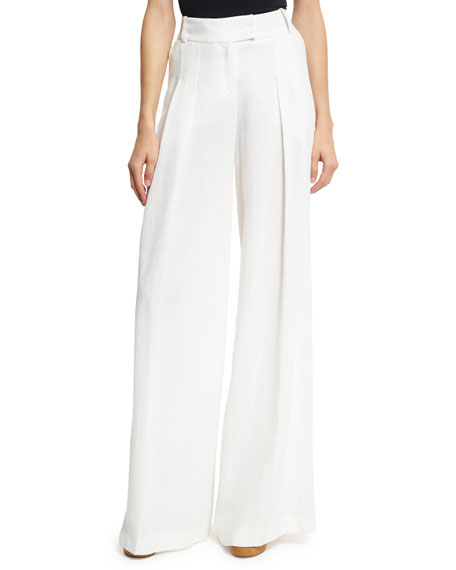 Michael Kors Collection Linen Palazzo Trousers, White