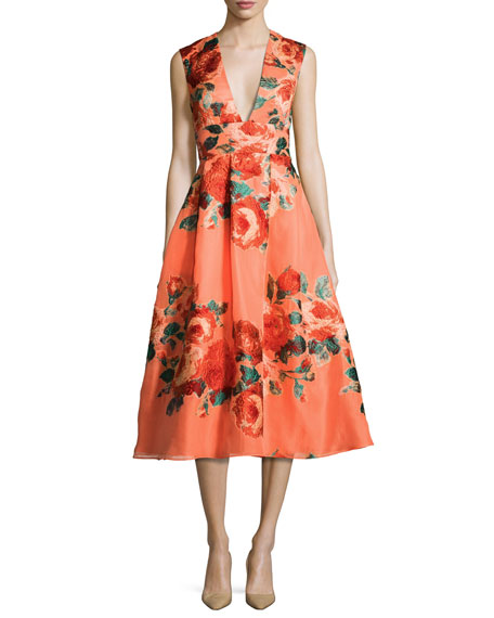Floral Sleeveless V-Neck Midi Dress, Salmon/Multi