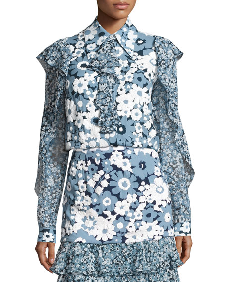 Michael Kors Collection Floral Ruffled-Trim Blouse, Blue/Pattern