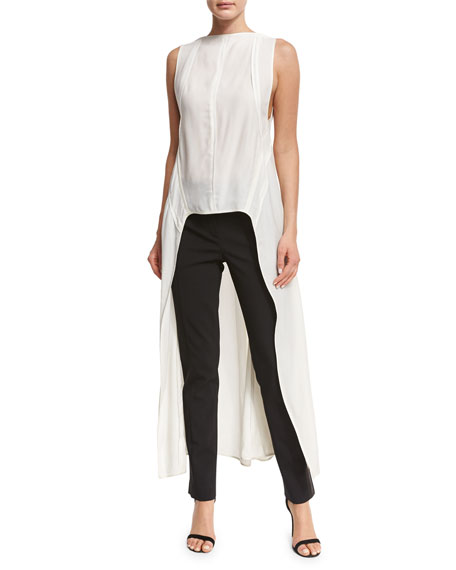 Narciso Rodriquez Sleeveless Boat-Neck High-Low Top, White