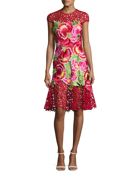 Floral-Appliqué Sleeveless Cocktail Dress, Red Pattern