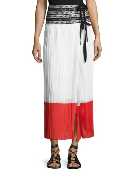 Oscar de la Renta Pleated Side-Slit Wrap Skirt,
