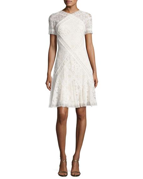 Short-Sleeve Paneled Lace A-Line Dress, Ivory