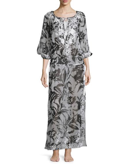 Silk Chiffon Boho Maxi Coverup Dress, White/Black