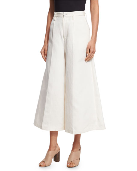 High-Waist Wide-Leg Culotte Pants, Ivory