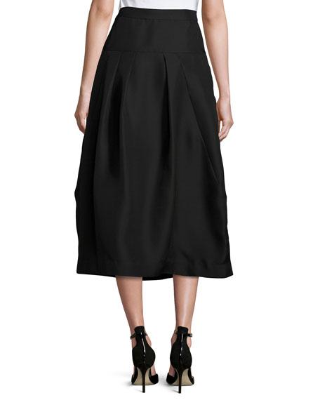 Pleated High-Waist Midi Skirt, Black