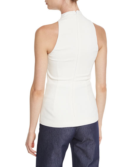 Cutout-Turtleneck Sleeveless Blouse, Soft White
