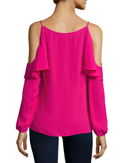 Laurell Ruffled Cold-Shoulder Silk Blouse