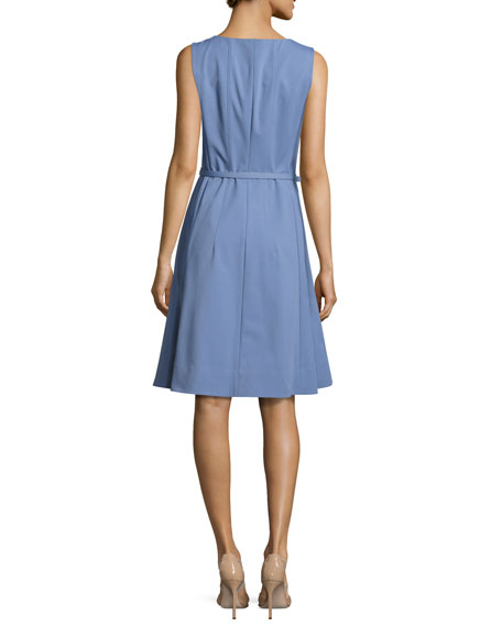 Coralie Belted Zip-Front Fit-&-Flare Dress