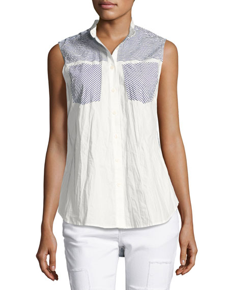 Derek Lam 10 Crosby Striped-Combo Sleeveless Shirt, Blue