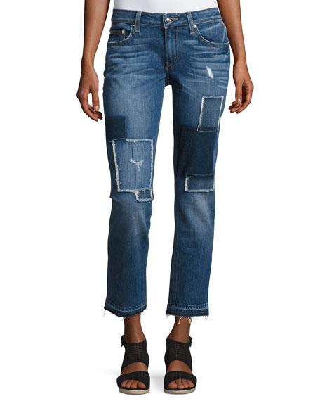 Mila Patchwork Mid-Rise Slim Boyfriend Jeans