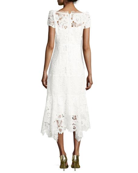 Cap-Sleeve Lace Illusion Midi Dress, Ivory