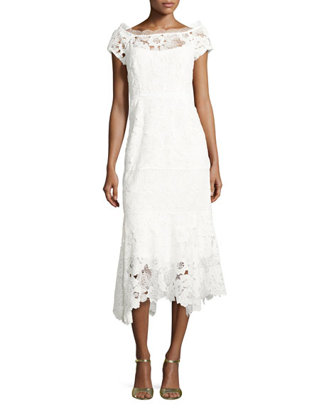 Nanette Lepore Cap-Sleeve Lace Illusion Midi Dress, Ivory