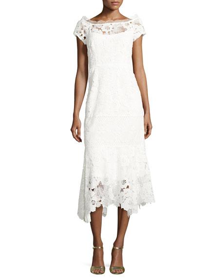 Nanette Lepore Cap-Sleeve Lace Illusion Midi Dress, Ivory