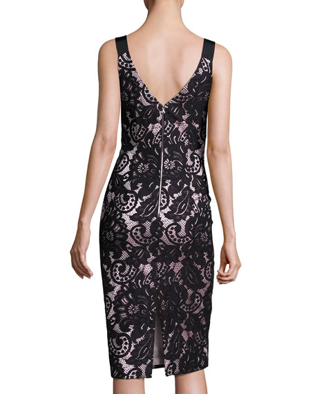 Theia Sleeveless Square-Neck Lace Sheath Dress, Black/Pink