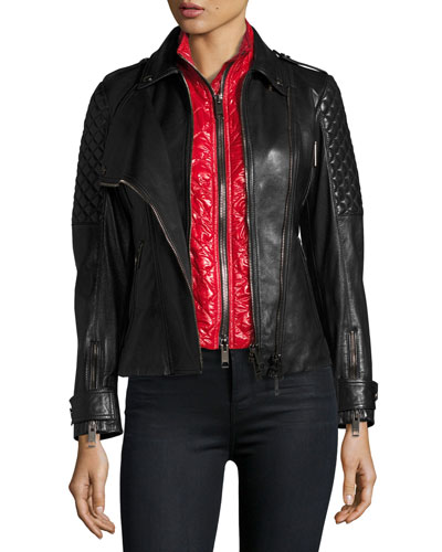 Kirden 3-in-1 Quilted Leather Moto Jacket w/ Removable Vest