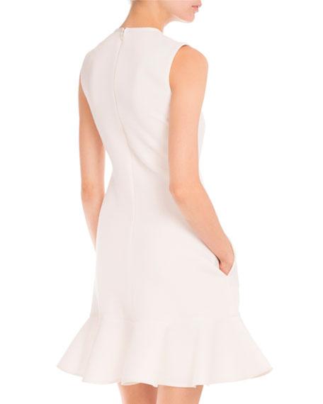 Sleeveless Flounce-Hem Wool Dress