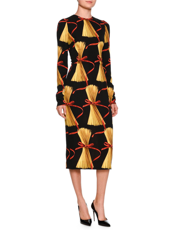 Dolce Amp Gabbana Spaghetti Print Long Sleeve Dress Black