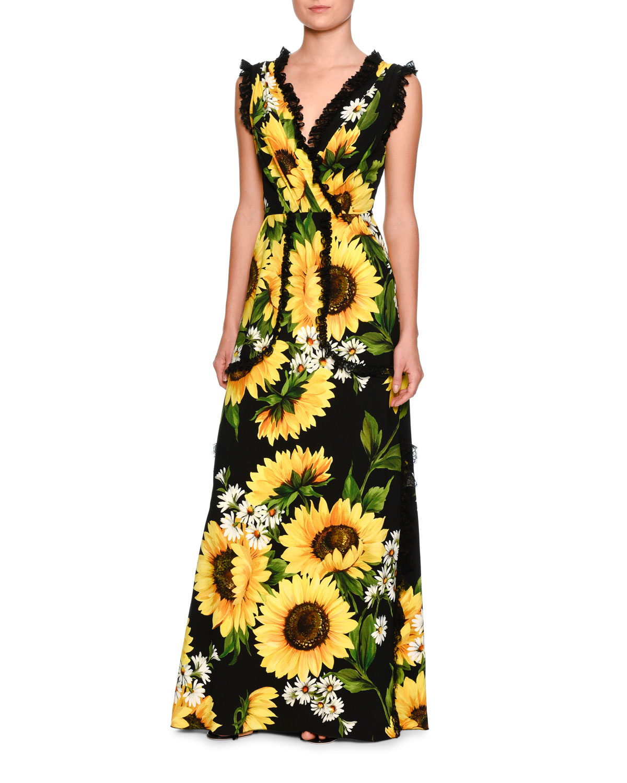 4d631f74ed41b Dolce & Gabbana Sunflower Lace-Trim Sleeveless Gown, Black/Yellow ...