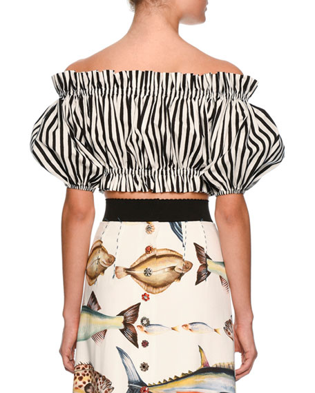 Dolce & Gabbana Striped Off-the-Shoulder Cropped Top, White/Black
