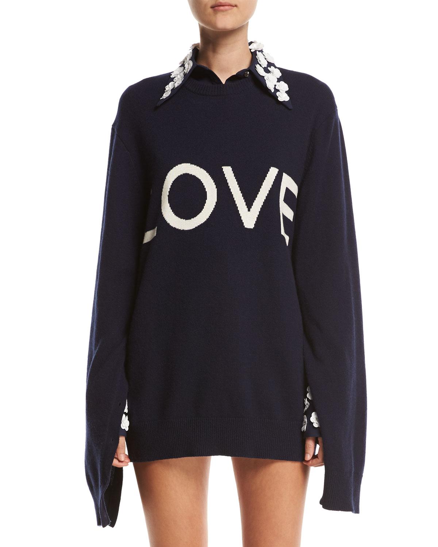 06bcb07fd1455a Michael Kors Collection Love Oversized Crewneck Sweater, Navy ...