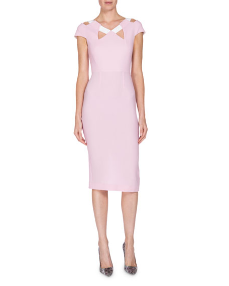 Roland Mouret Cap-Sleeve Cold-Shoulder Dress