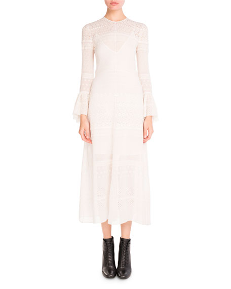 Bell-Sleeve Eyelet Midi Dress