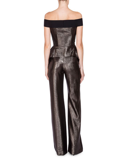 Danielson Off-the-Shoulder Peplum Jumpsuit, Gunmetal/Black