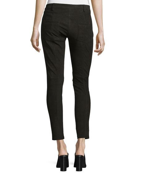 Five-Pocket Skinny-Leg Leather Jeans