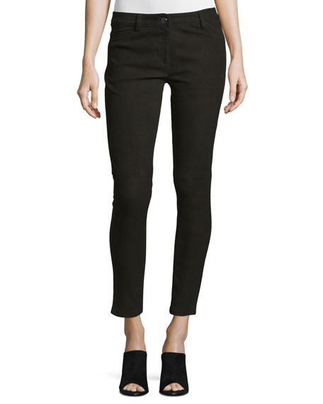 Five-Pocket Skinny-Leg Leather Jeans