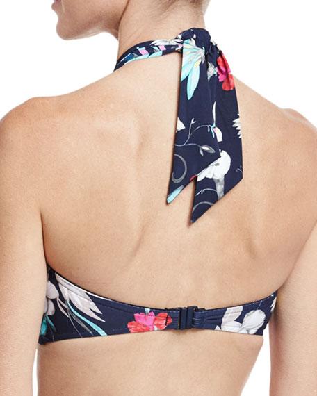 Flower Festival Bandeau Swim Top, Blue Pattern