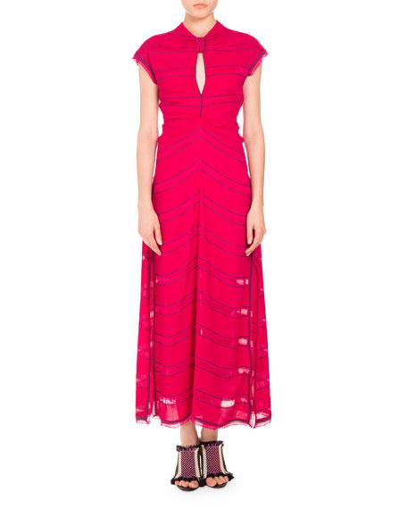 Proenza Schouler Pinstripe Cap-Sleeve Maxi Dress, Magenta/Blue