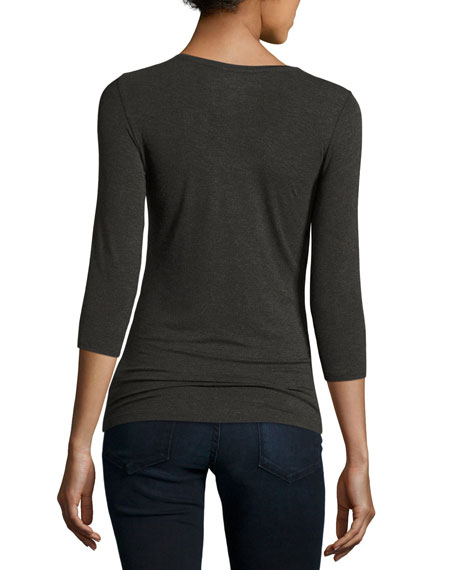 Soft Touch 3/4-Sleeve Scoop-Neck Tee