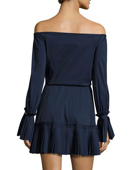 Rylan Pleated Off-the-Shoulder Dress, Navy Blue