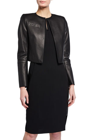 Akris Hasso Cropped Napa Leather Jacket, Black