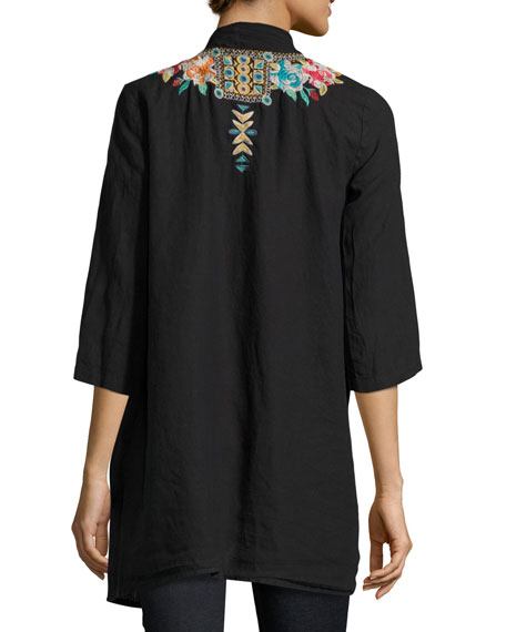 Johnny was sita linen embroidered jacket plus size