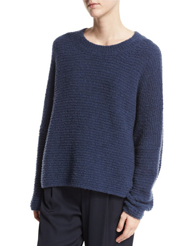 Oversized Textured Crewneck Pullover