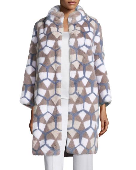 Intarsia Mink-Fur Coat