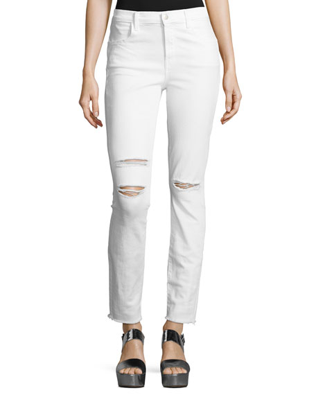 J Brand Maria High-Rise Distressed Skinny Jeans with