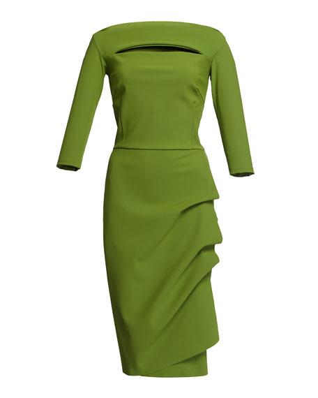 Chiara Boni La Petite Robe Slit-Neck 3/4 Sleeve Ruched Cocktail Dress