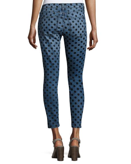 The Stiletto Skinny Jeans w/Flocked Dots, Navy
