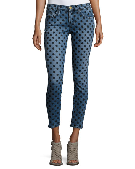 Current/Elliott The Stiletto Skinny Jeans w/Flocked Dots, Navy