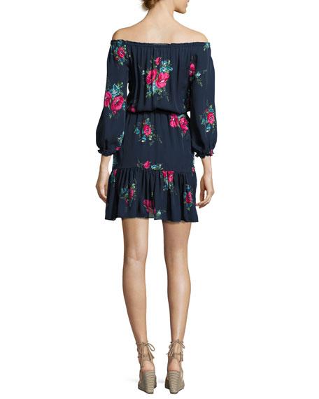 Marx Floral-Print Off-the-Shoulder Silk Blouson Mini Dress, Blue
