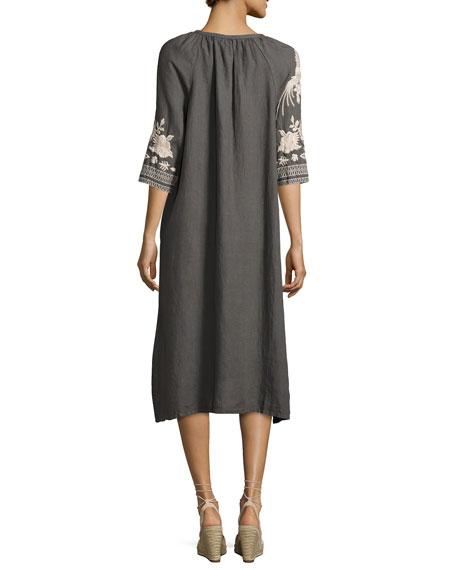 Carmelita Embroidered Linen Dress, Voltage, Plus Size