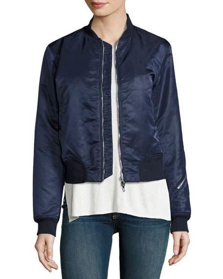 Rag & Bone Morton Satin Bomber Jacket, Navy