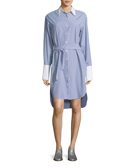 Essex Striped Belted Shirtdress with Contrast Trim, Blue/White